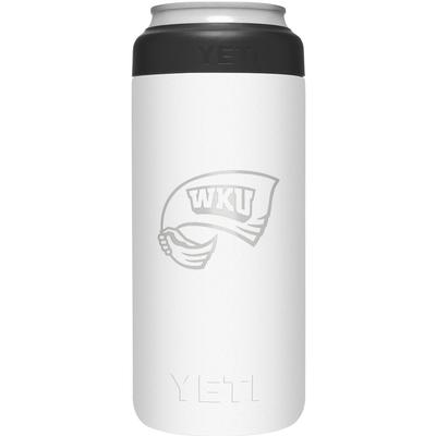 Western Kentucky Yeti White Primary Logo Slim Colster