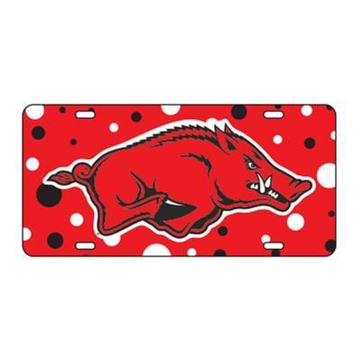 Arkansas Dotted License Plate Razorback Logo