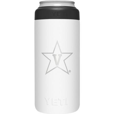 Vanderbilt Yeti White Primary Logo Slim Colster