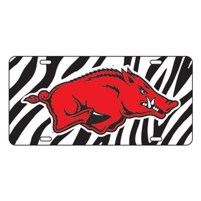 Arkansas Zebra Print License Plate Razorback Logo