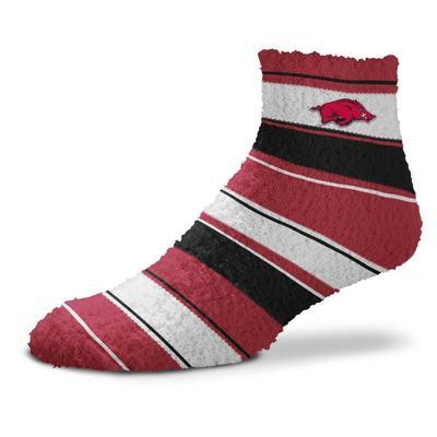 Arkansas Skip Stripe Fuzzy Sock