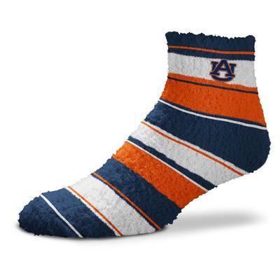 Auburn Skip Stripe Fuzzy Sock