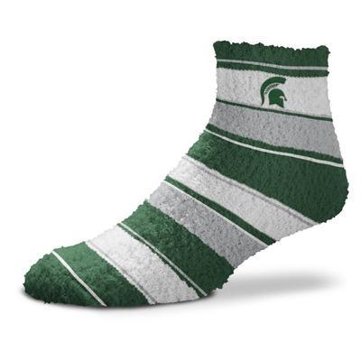 Michigan State Skip Stripe Fuzzy Sock