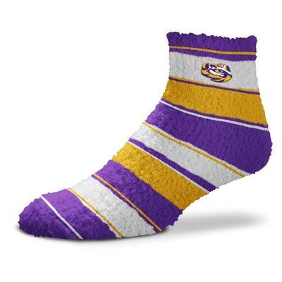 LSU Skip Stripe Fuzzy Sock