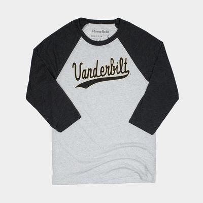 Vanderbilt Homefield Vintage Script Long Sleeve Baseball Tee