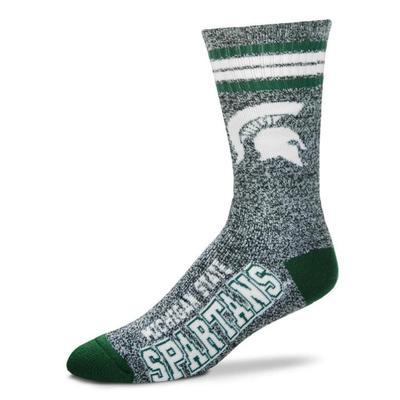 Michigan State 4-Stripe Marbled Deuce Sock