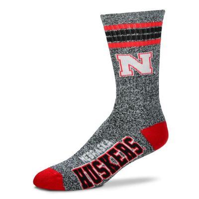 Nebraska 4-Stripe Marbled Deuce Sock