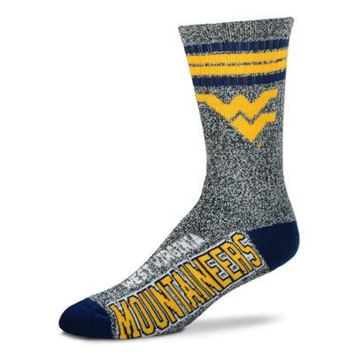 West Virginia 4-Stripe Marbled Deuce Sock