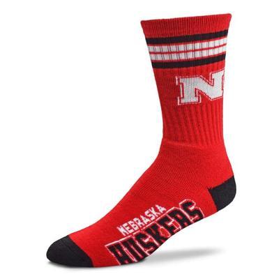 Nebraska YOUTH 4-Stripe Deuce Sock