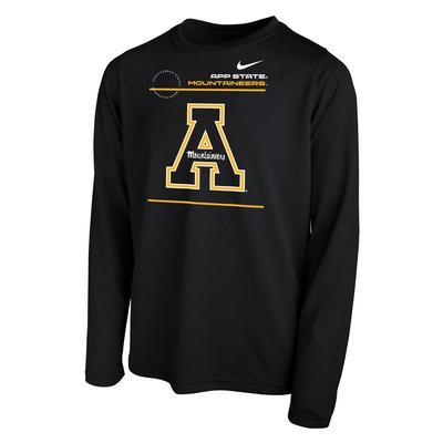Appalachian State Nike YOUTH Legend Dri-Fit Long Sleeve Tee