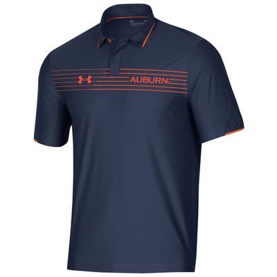 Auburn Under Armour Chest Stripe Polo