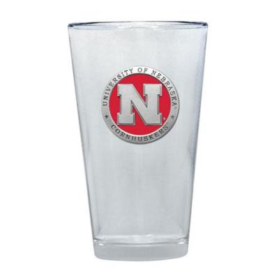 Nebraska Heritage Pewter Red Emblem Pint Glass