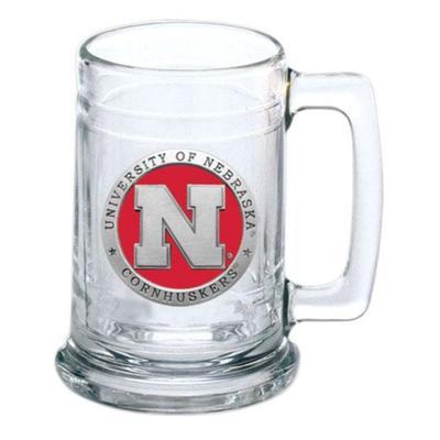 Nebraska Heritage Pewter Red Emblem Stern Glass