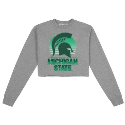 Michigan State Uscape Oversize Crop Neon Sign Crew