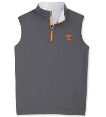 Tennessee Peter Millar Galway 1/4 Zip Vest - Orange Zipper