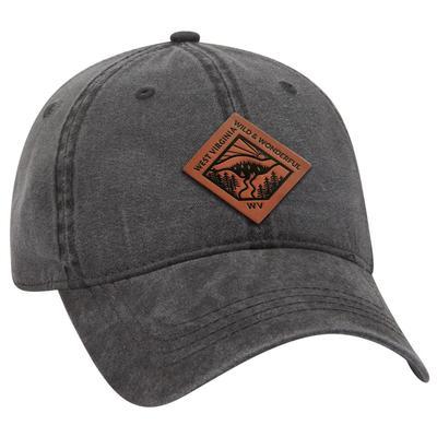 Uscape West Virginia Vintage Wash Adjustable Faux Leather Patch Hat