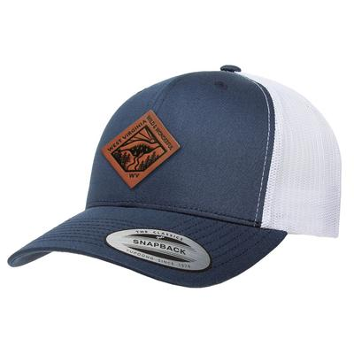 Uscape West Virginia Vintage Wash Faux Leather Patch Structured Trucker Hat