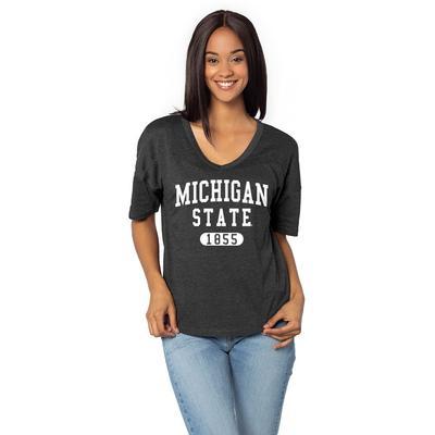 Michigan State University Girl V Happy Jersey Tee