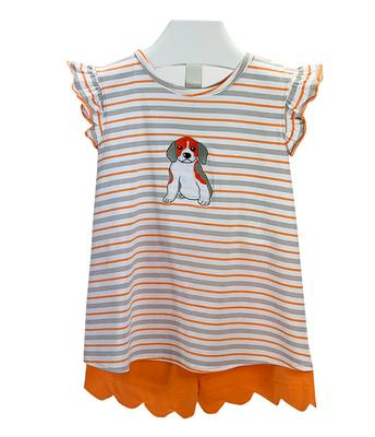 Striped Ruffle Sleeve Puppy Dog Toddler Tank and Shorts Set
