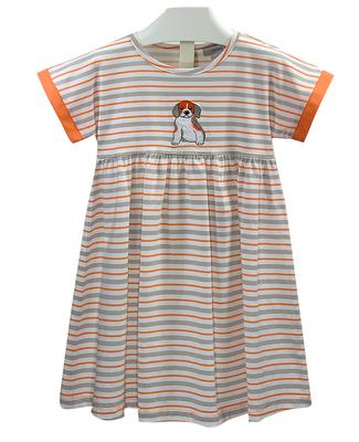 Striped Empire Waist Toddler Puppy Dog Dress