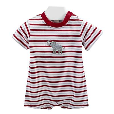 Ishtex Infant Striped Elephant Logo Romper