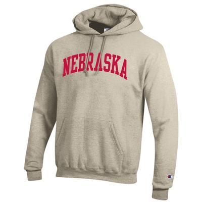 Nebraska Champion Oatmeal Arch Fleece Hoodie