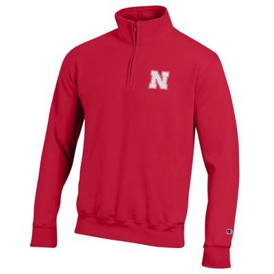 Nebraska Champion Men's 1/4 Zip Fleece Pullover