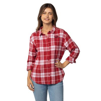 Arkansas University Girls Women's Boyfriend Plaid Shirt