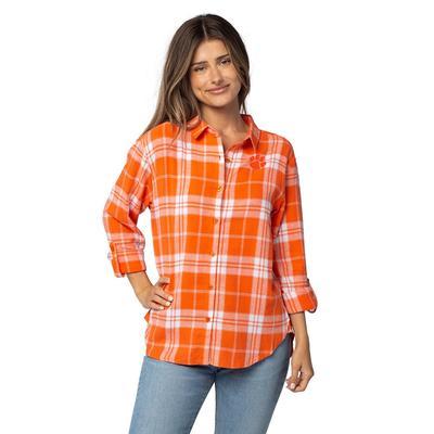 Clemson University Girls Women's Boyfriend Plaid Shirt