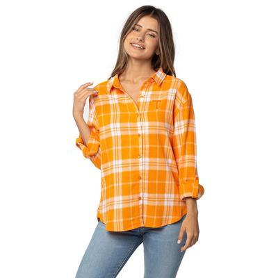 Tennessee University Girls Women's Boyfriend Plaid Shirt