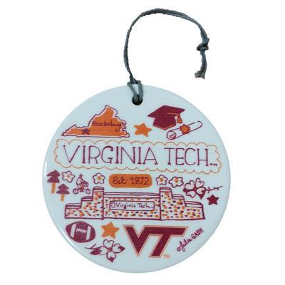 Virginia Tech Round Ceramic Ornament