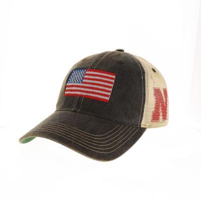 Nebraska Legacy US Flag Adjustable Hat