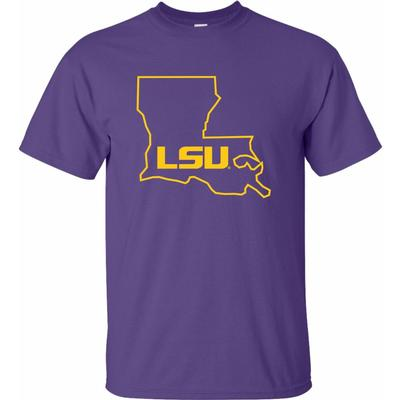 LSU State Outline Short Sleeve Tee