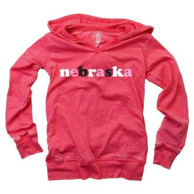 Nebraska YOUTH Burn Out Long Sleeve Hoodie
