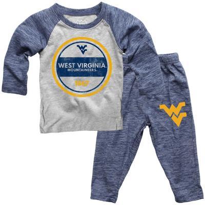West Virginia Toddler Cloudy Yarn Long Sleeve Set