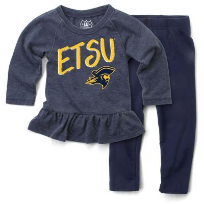 ETSU Toddler Long Sleeve Ruffle Hem Set
