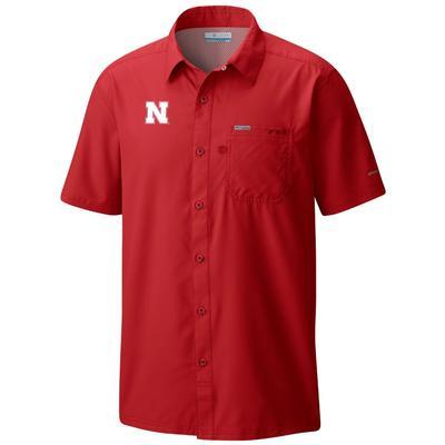 Nebraska Columbia Men's Slack Tide Short Sleeve Shirt