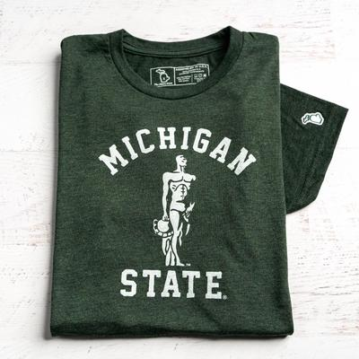 Michigan State Mitten Sparty Statue Short Sleeve Tee