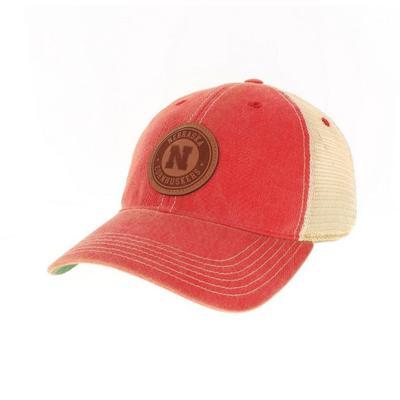 Nebraska Legacy Leather Circle Patch Trucker Hat