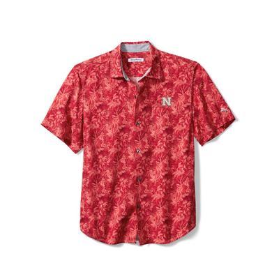 Nebraska Tommy Bahama Men's Jungle Shade Silk Camp Shirt