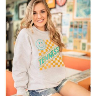 Tennessee Southern Made Checkerboard Smiley Face Crew Sweatshirt