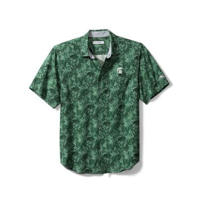 Michigan State Tommy Bahama Men's Jungle Shade Silk Camp Shirt
