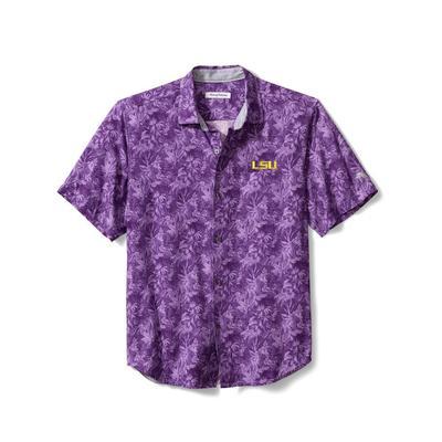 LSU Tommy Bahama Men's Jungle Shade Silk Camp Shirt