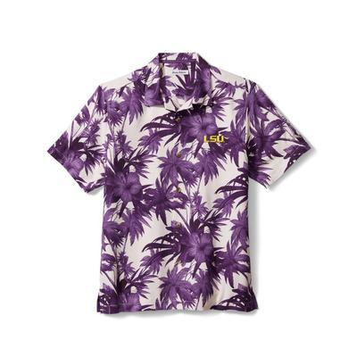 LSU Tommy Bahama Harbor Island Hibiscus Silk Camp Shirt