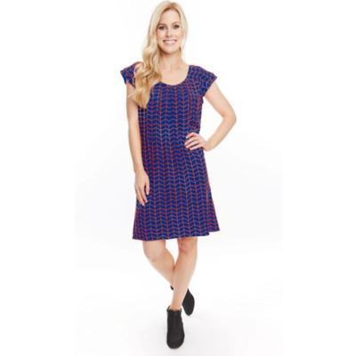 Stewart Simmons Chevron Print Ruffle Sleeve Blue & Orange Dress