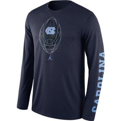 UNC Jordan Brand Nike Men's Legend Football Icon Long Sleeve Tee