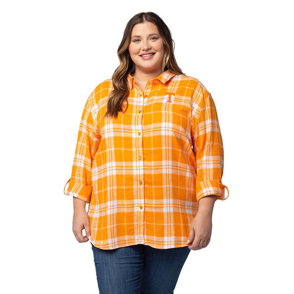 Tennessee University Girl Boyfriend Plaid Shirt - Plus Size