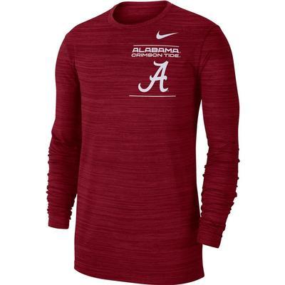 Alabama Nike Men's Dri-Fit Velocity Sideline Long Sleeve Tee