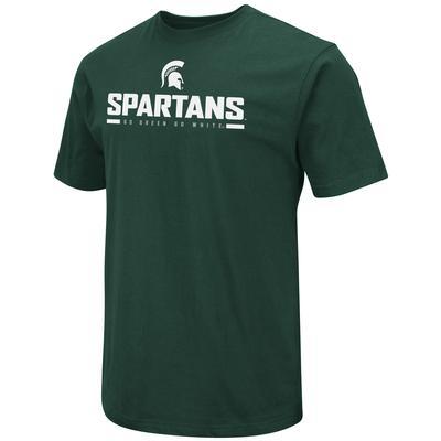Michigan State Colosseum Logo Over Mascot Short Sleeve Tee