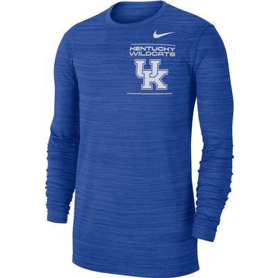 Kentucky Nike Men's Dri-Fit Velocity Sideline Long Sleeve Tee